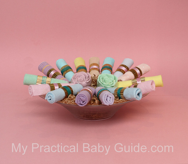 A Baby Washcloth DIY Centerpiece/Decoration for a Girl Baby Shower