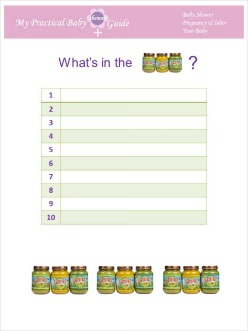 graphic relating to Guess the Baby Food Game Printable named Free of charge Printable Kid Shower Online games - My Effortless Boy or girl Shower