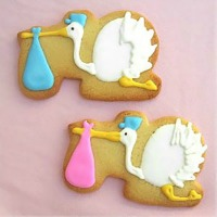stork baby shower cookies