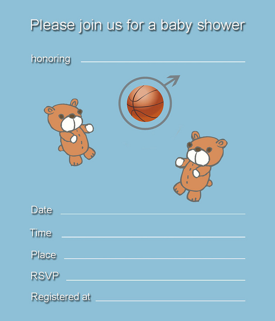 Free Printable Twin Boys Bears Baby Shower Invitation
