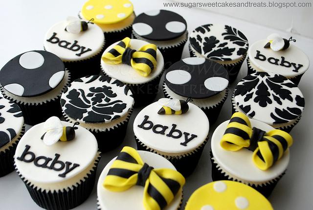 Charming Bumble Bee Baby Shower Cupcakes