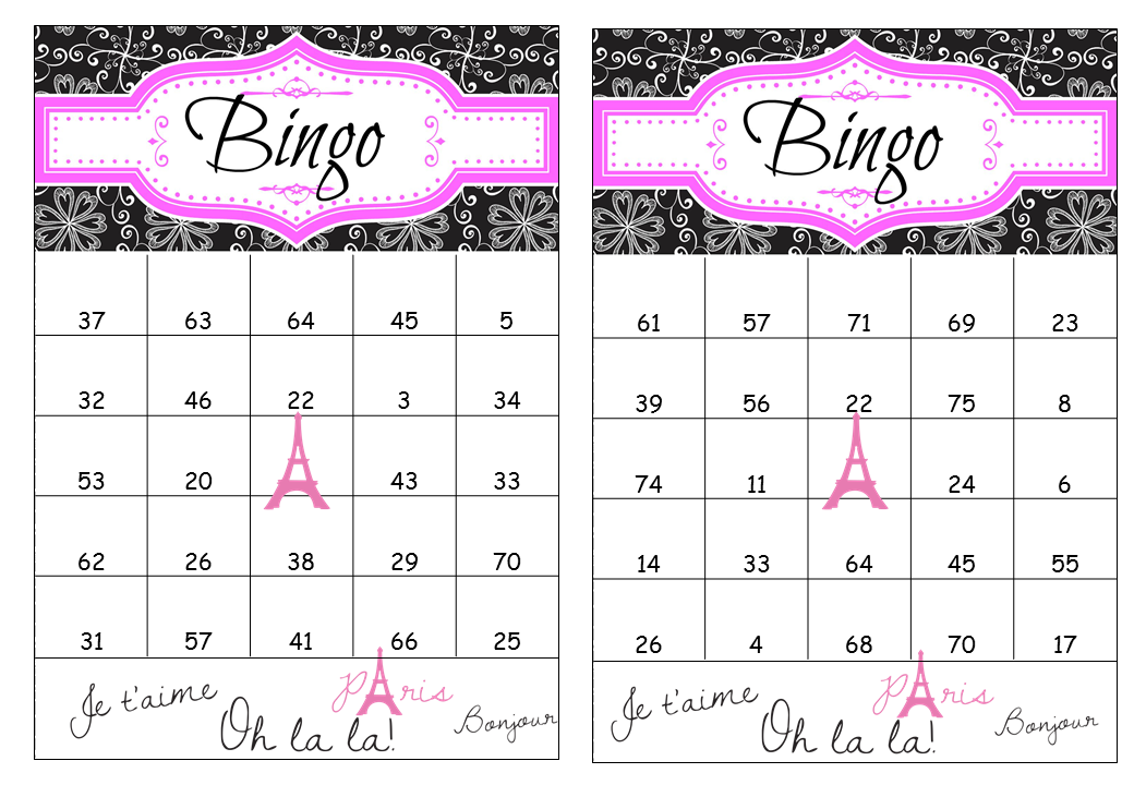 Printable Paris Birthday Bingo Cards
