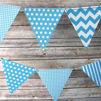 Blue Pattern Pennant Banner Nautical 1st Birthday Theme