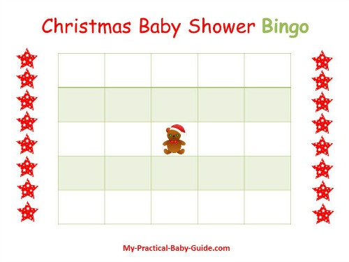 Christmas Baby Shower Blank Bingo Cards