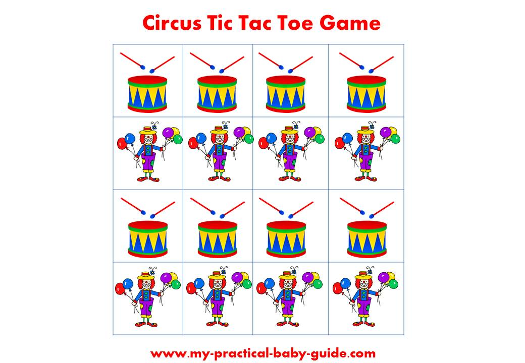 Free Circus Birthday Game Tic Tac Toe Printable