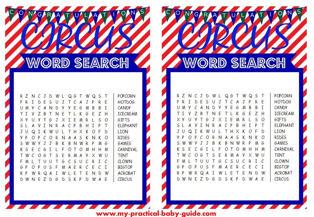 Free Circus Birthday Word Search Game Printable