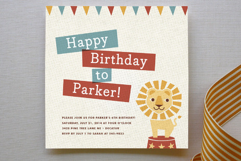 circus themed birthday invitations