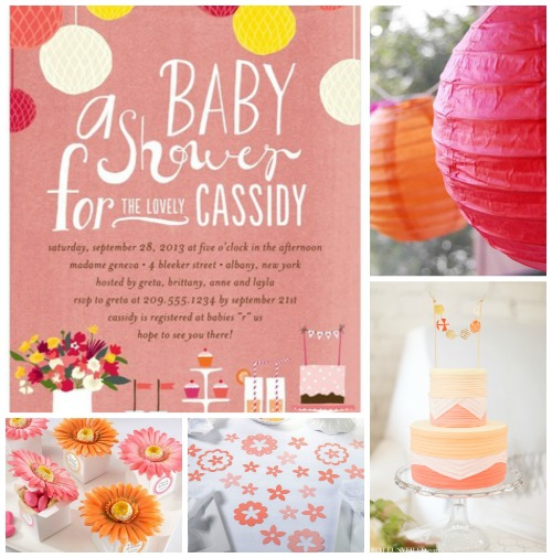 Coral Baby Shower Inspiration Board Ideas