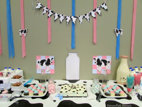 Moo Cow Gender Reveal Baby Shower Dessert Table