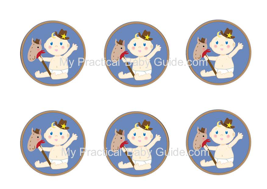 Free Printable Cowboy Baby Shower Cupcake Toppers