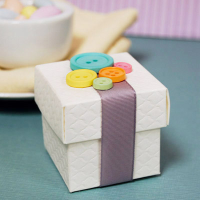 Cute as a Button Baby Shower Favor Box