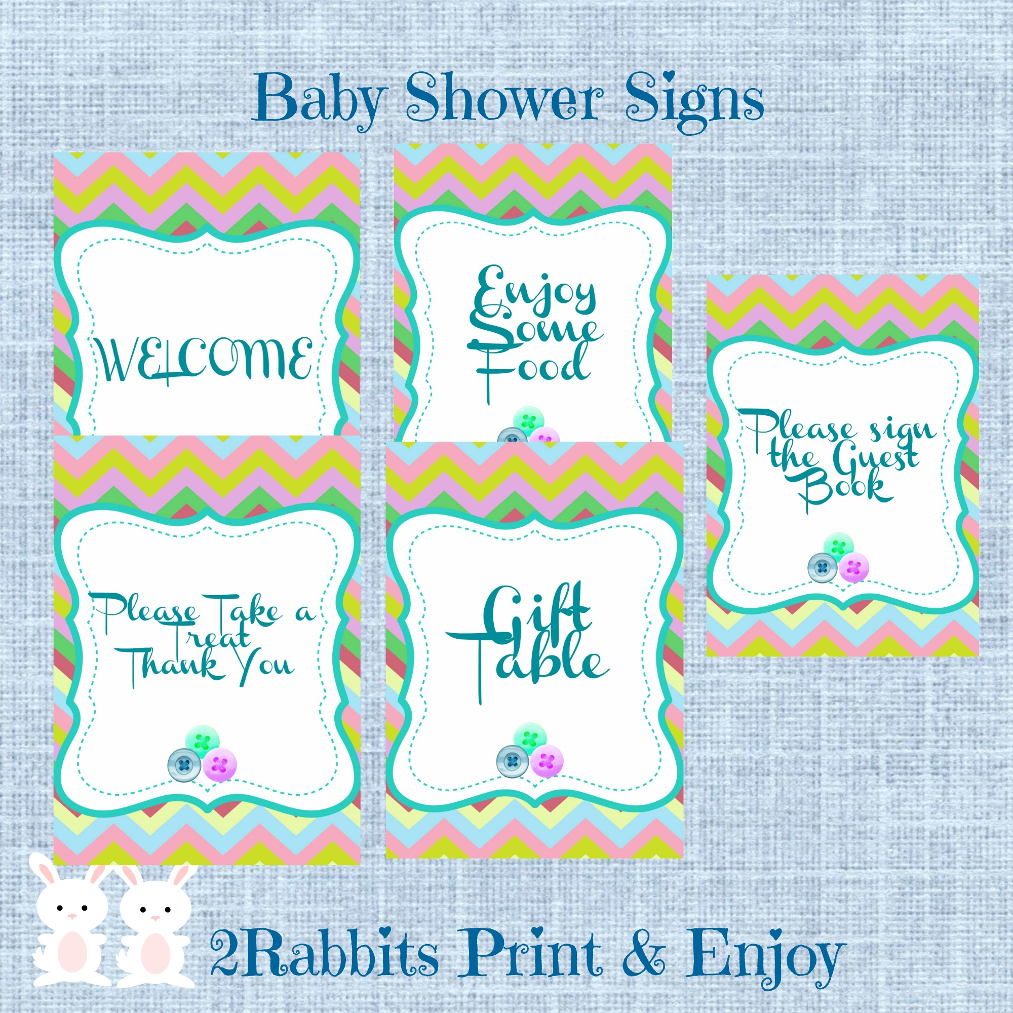 Cute As A Button Baby Shower Printable Signs