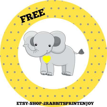 Free Printable Elephant Yellow Cupcake Toppers or Gift Tags