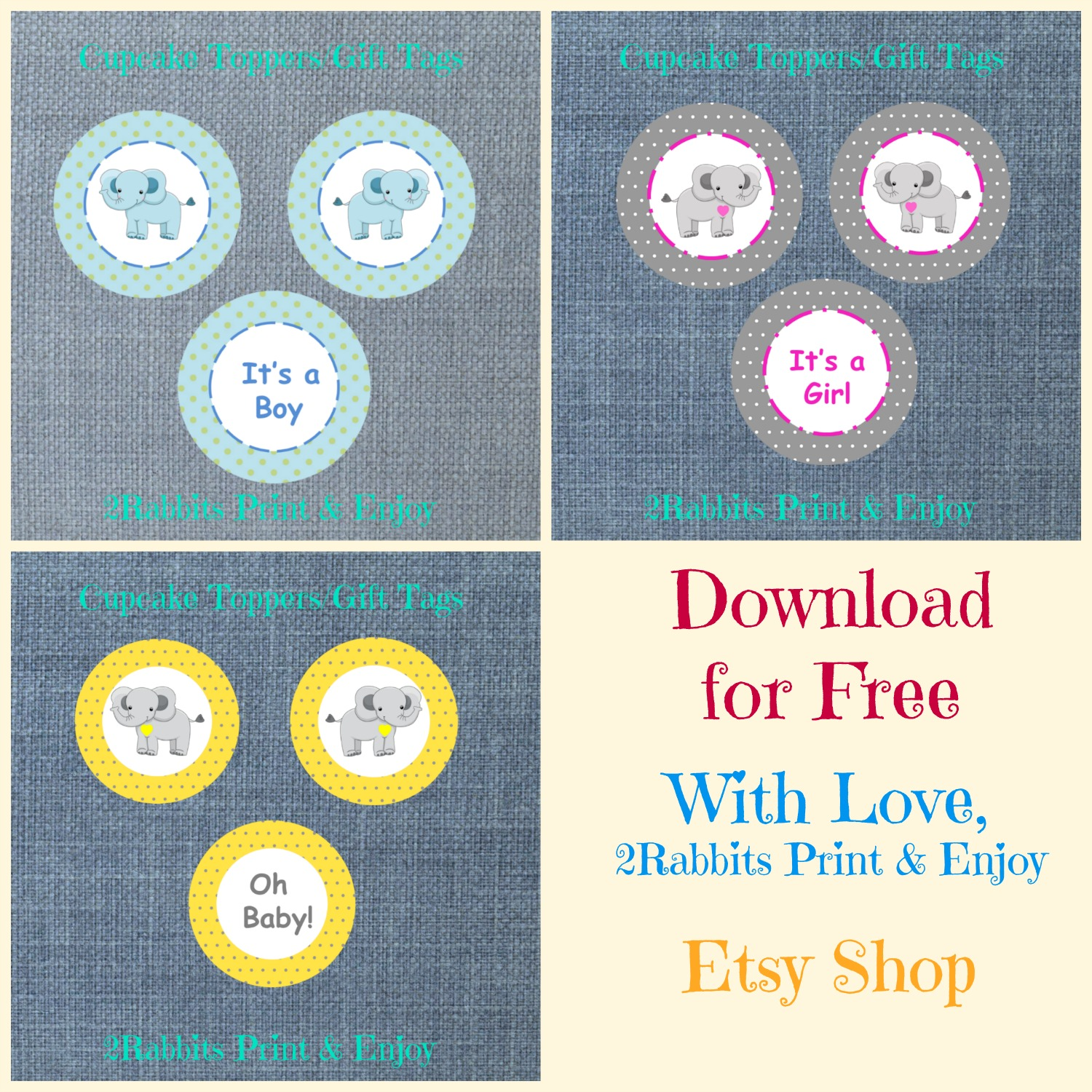 Free Printable Elephant Cupcake Toppers or Gift Tags