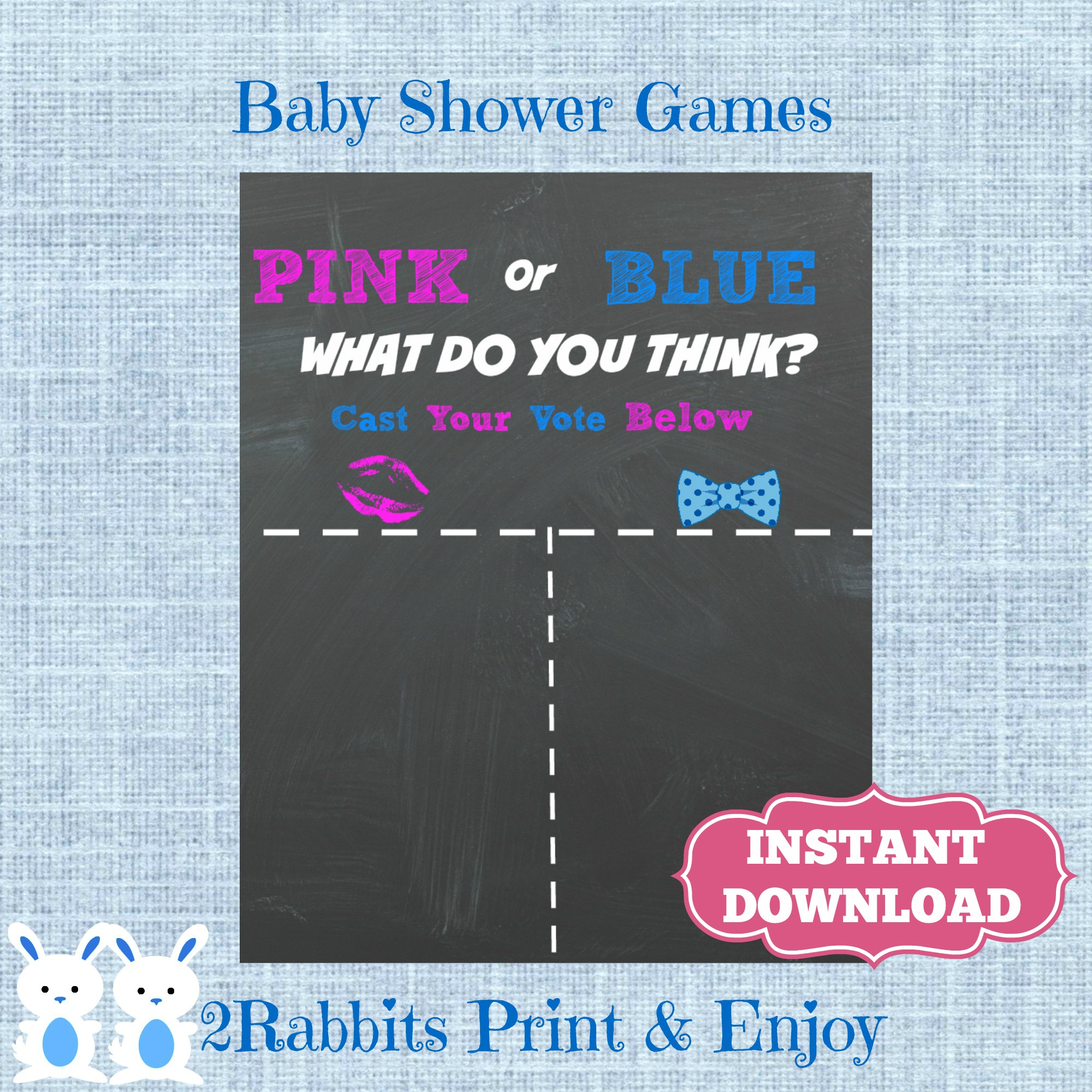 Pink or Blue Chalkboard Poster Baby Shower Game