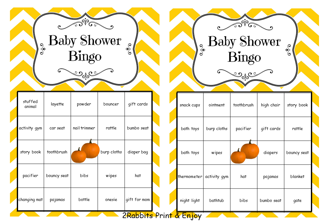 Pumpkin Baby Shower Bingo Pre filled with Baby Related Words
