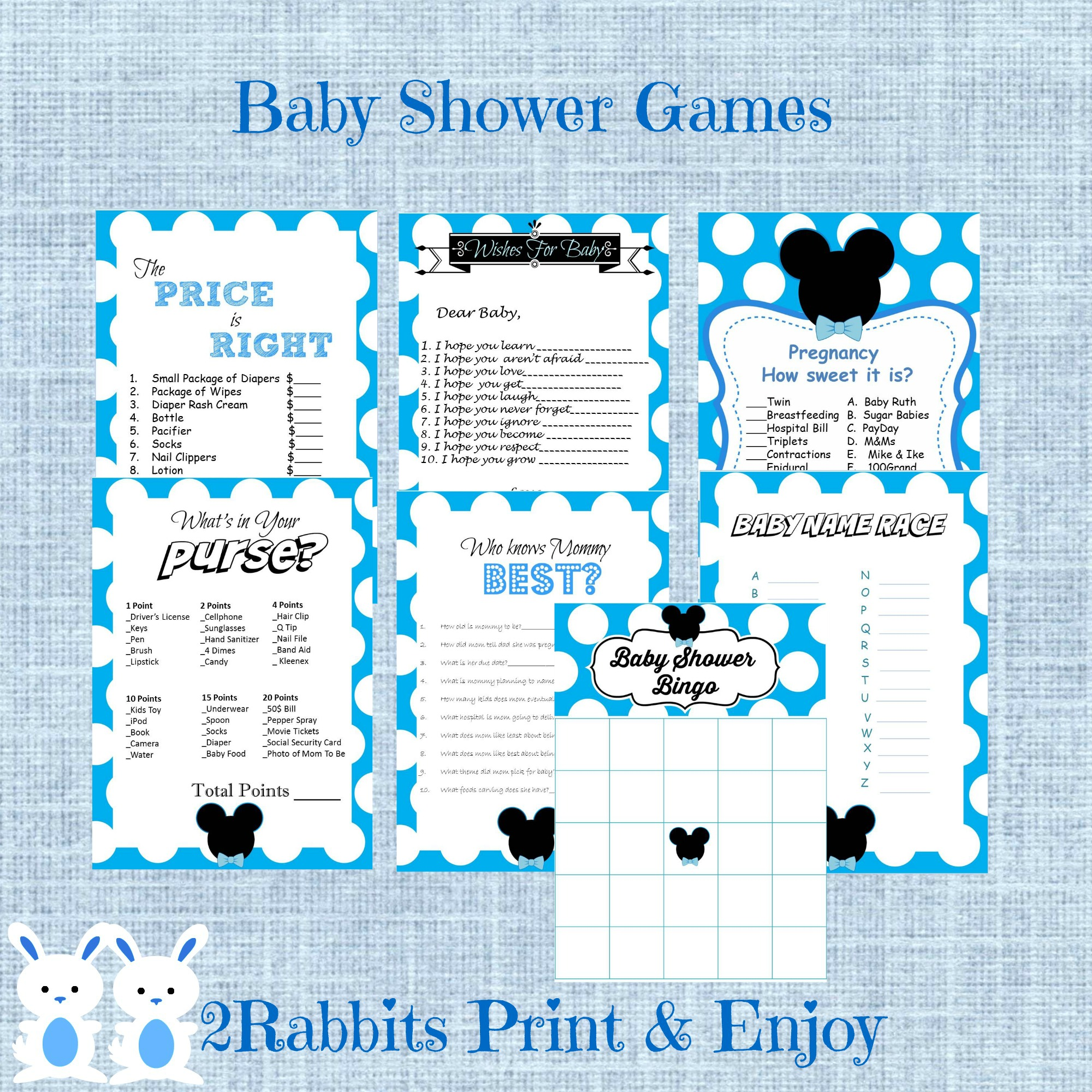Mickey Mouse 7 Printable Baby Shower Games