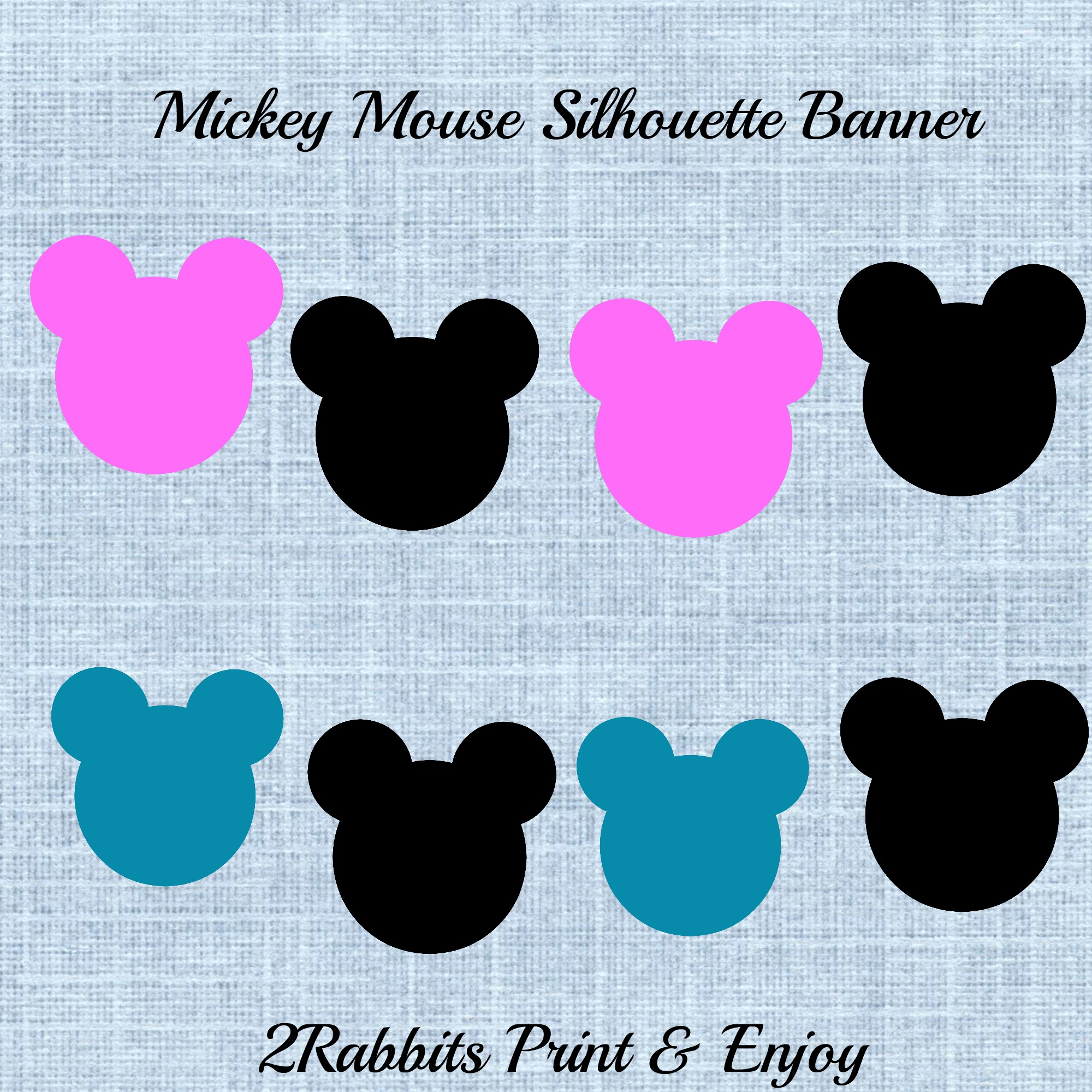 Mickey Mouse Silhouette Printable Banner