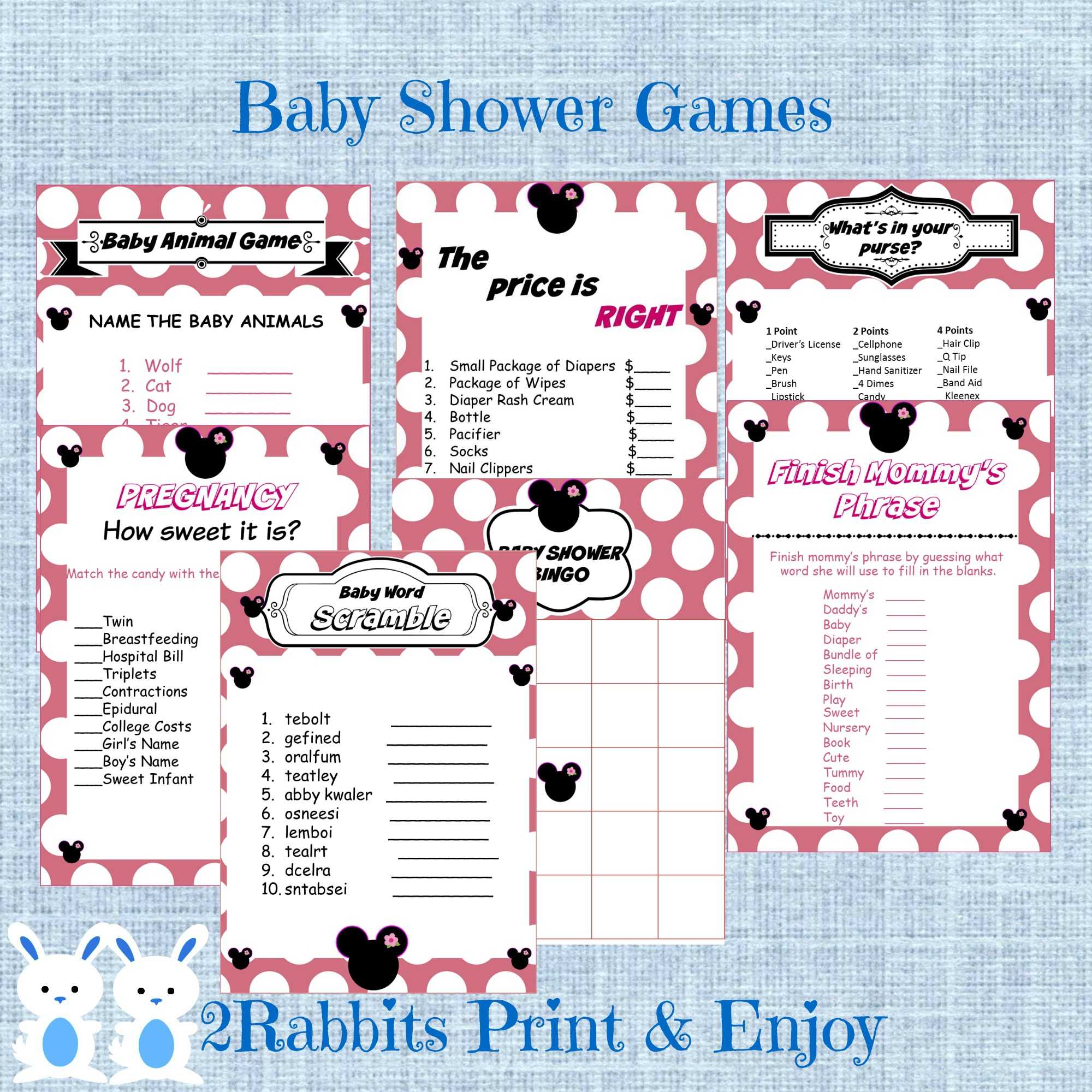 Minnie Mouse 7 Printable Baby Shower Games