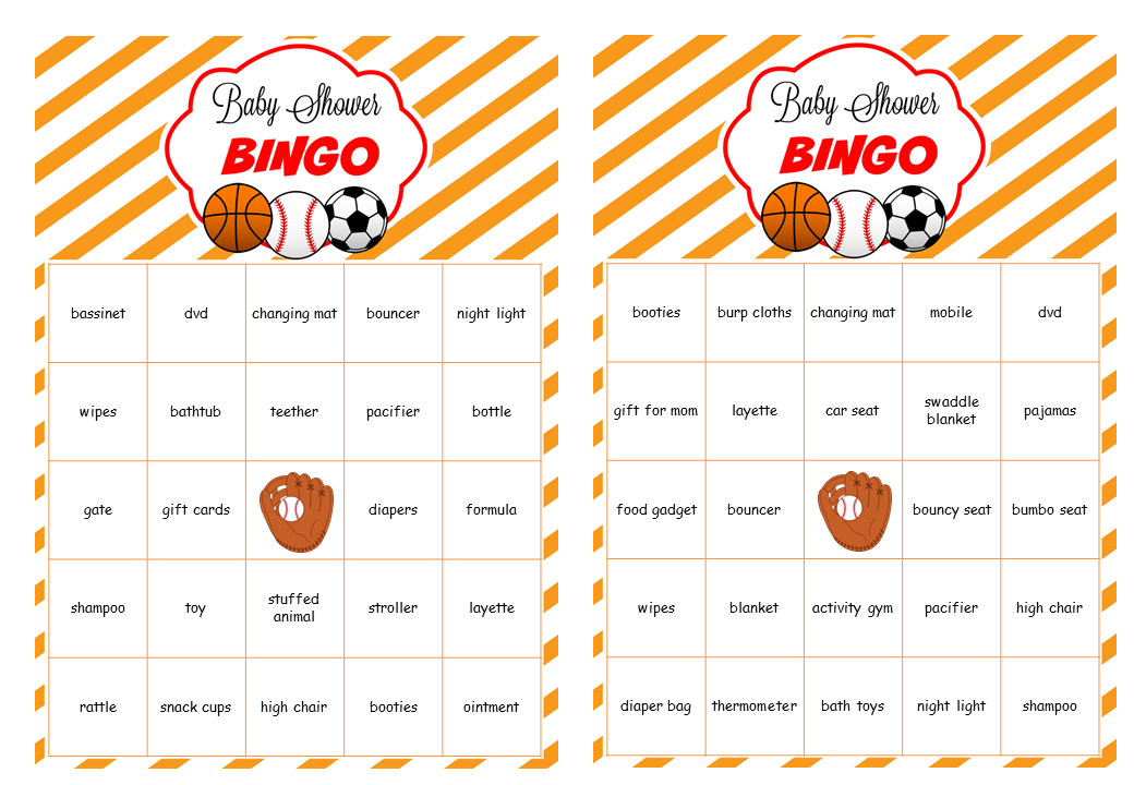 Sport baby shower theme ideas my practical baby shower guide sports theme baby shower bingo cards prefilled with baby gifts related words filmwisefo Images