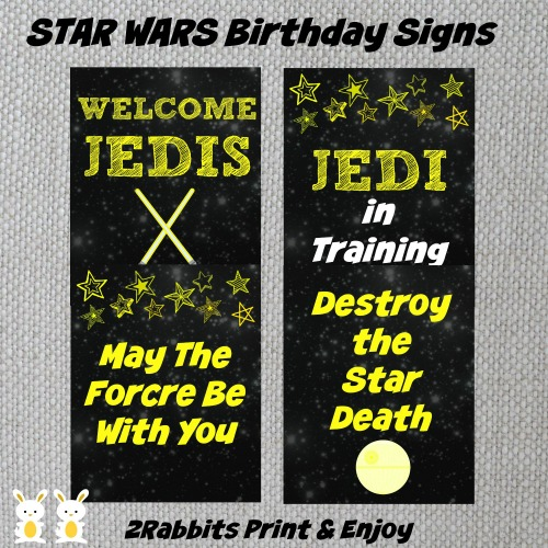 4 printable Star Wars Birthday Signs