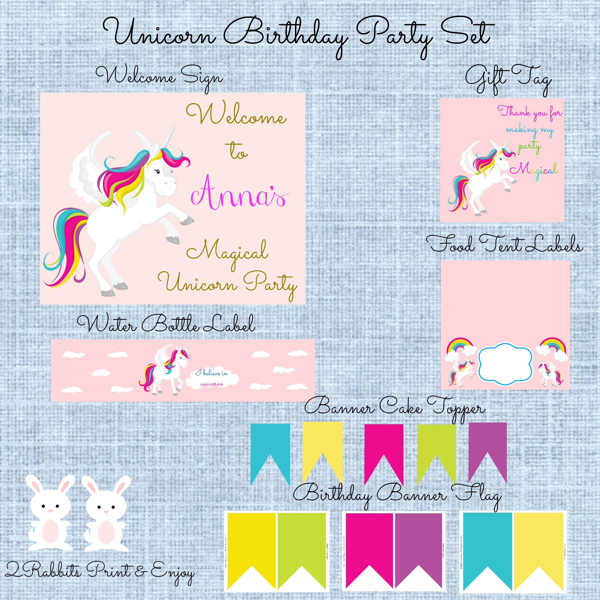 Unicorn Printable Birthday Party Supplies