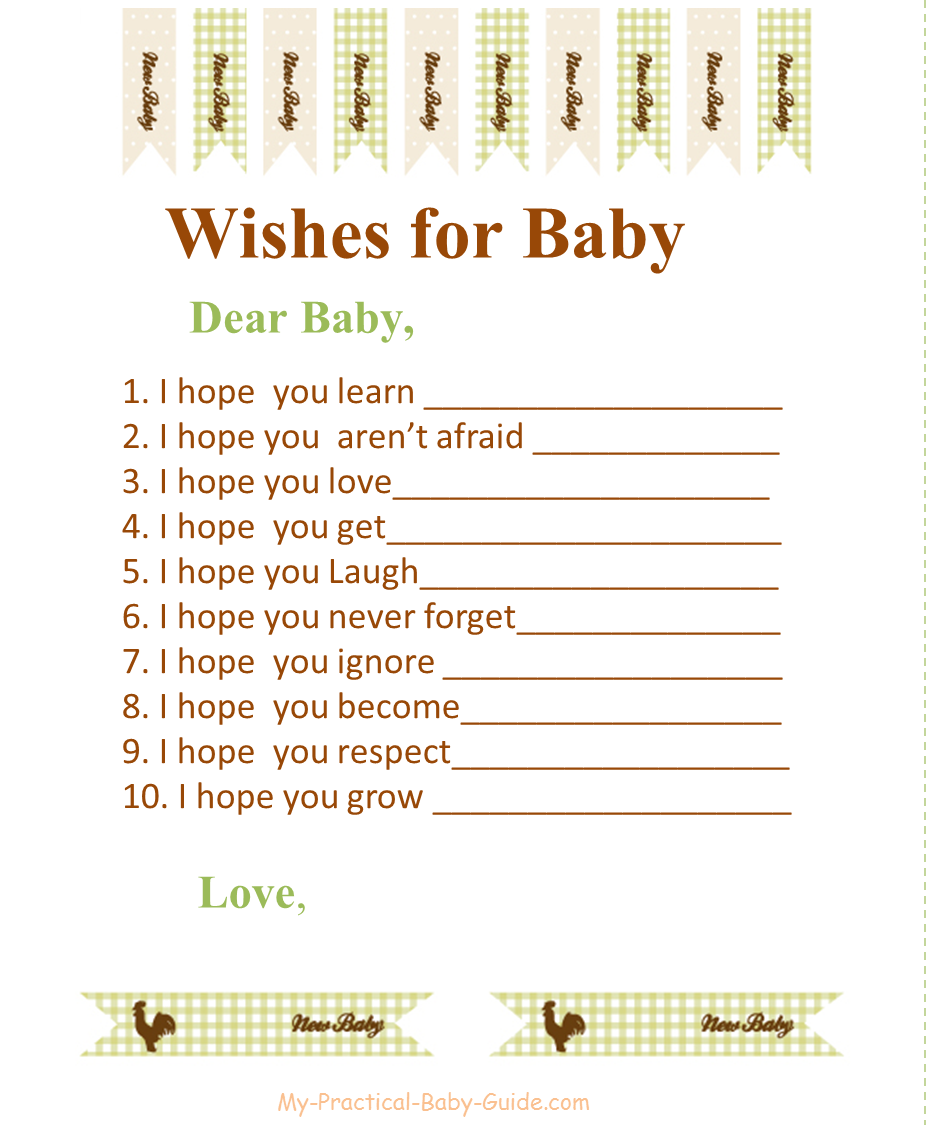 Free Printable Farm Baby Shower Wishes for Baby