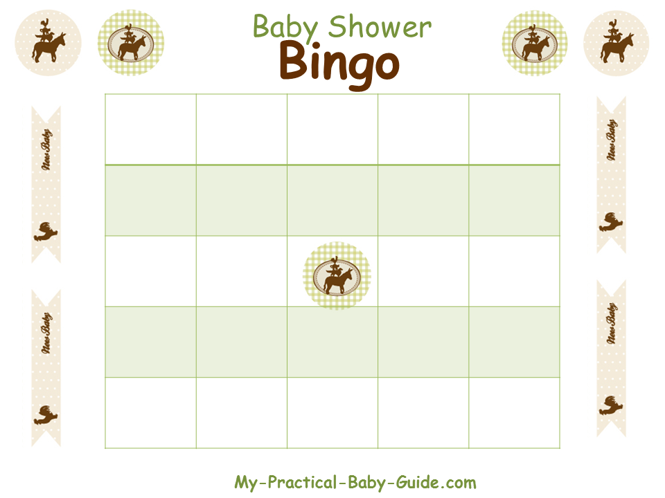 Free Printable Farm Baby Shower Blank Bingo Cards