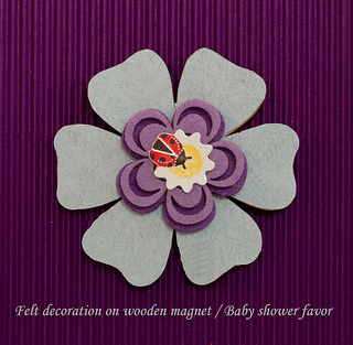 Flower  wooden shaped magnet with felt decoration baby shower favor