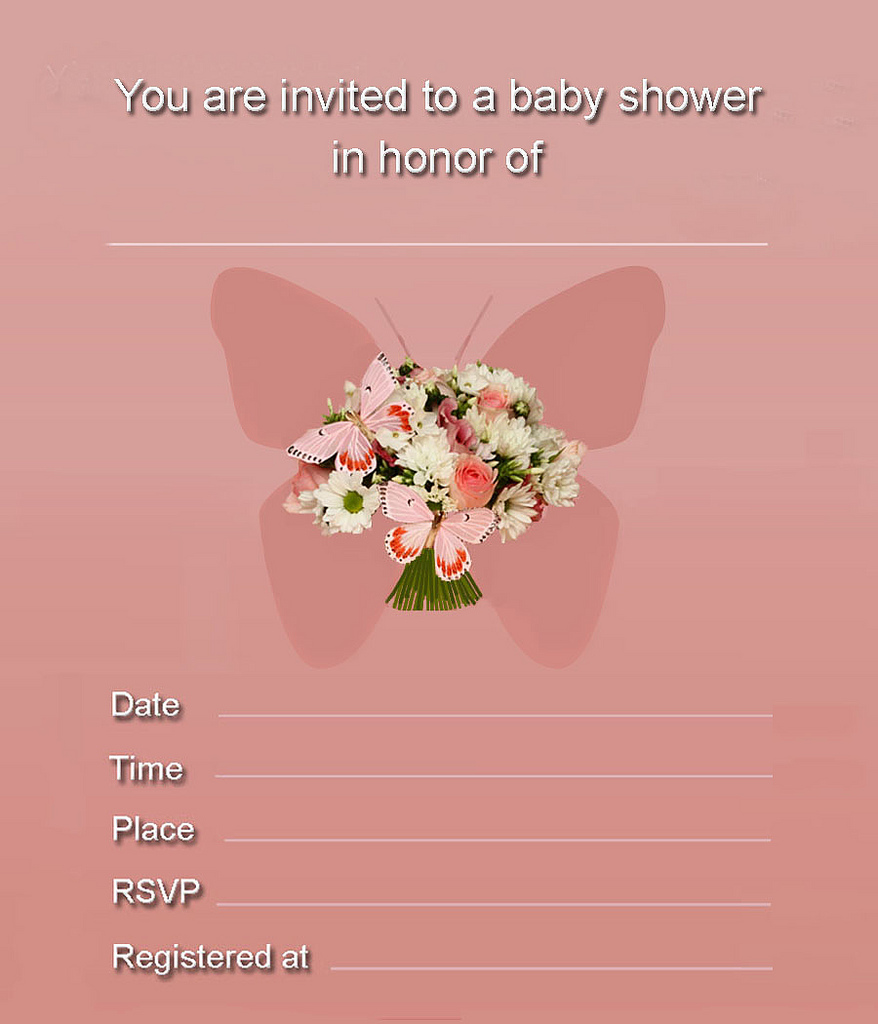 Free Printable Flower & Butterfly Girl Baby Shower Invitation
