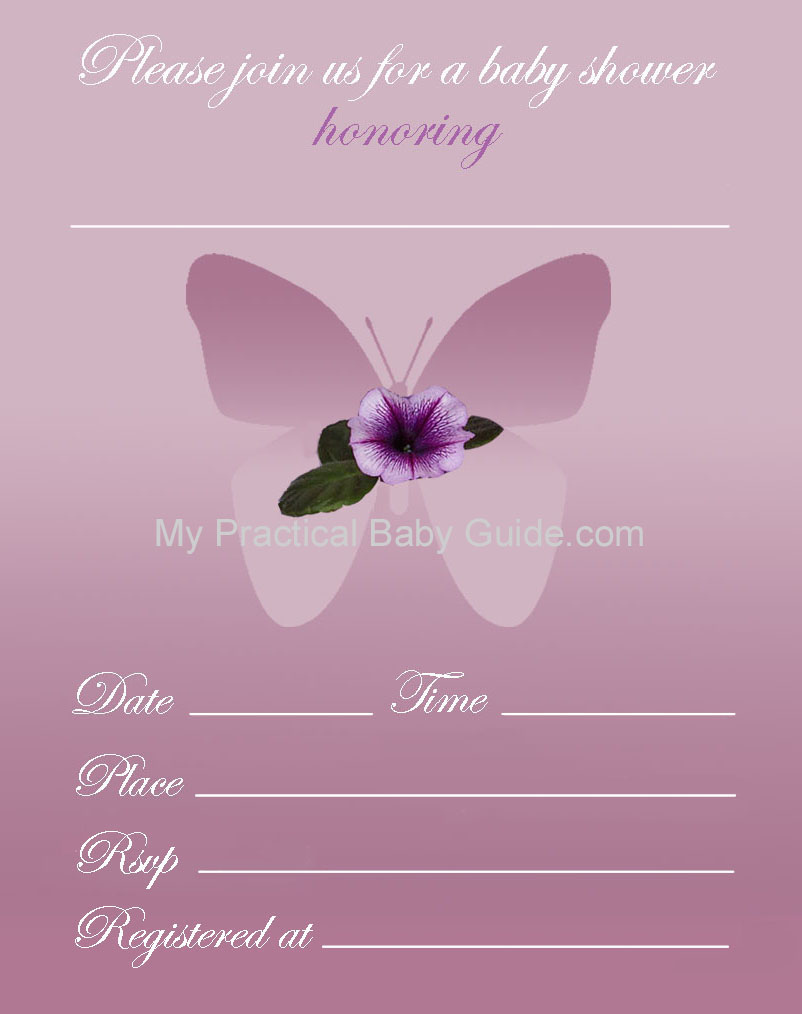 Free Printable Flower Butterfly Baby Shower Inviation Invitation