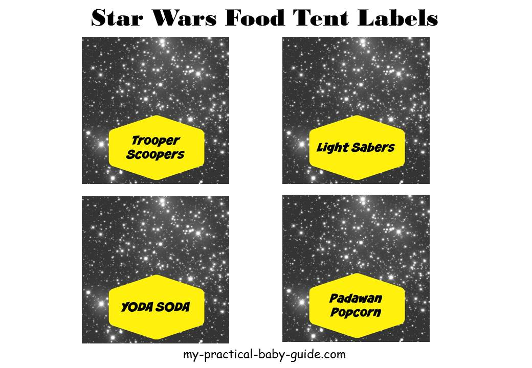 Free Printable Star Wars Food Tent Table Labels