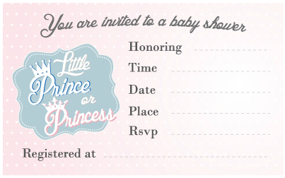 Gender Reveal Baby Shower Invitation Little Prince or Princess