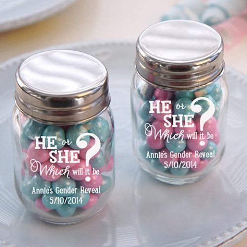 Gender Reveal Mason Jars Filled with Pink and Blue Candies