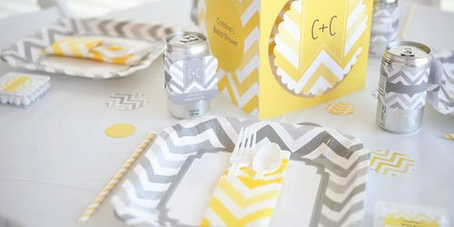 Gray Chevron Supplies with a Pop of Color