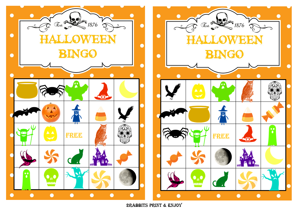 Halloween Prefilled Bingo Cards with Clip Arts