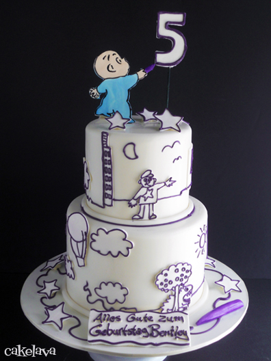 Harold and the Purple Crayon Book Themed Baby Shower Cake