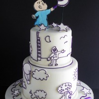 Harold and the Purple Crayon Book Themed Cake