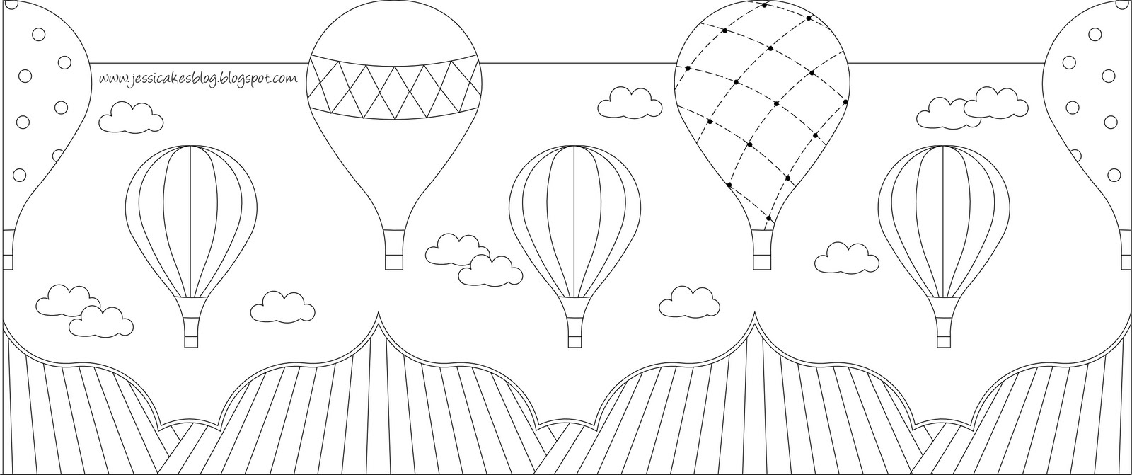 Hot Air Balloon Baby Shower Cake Template