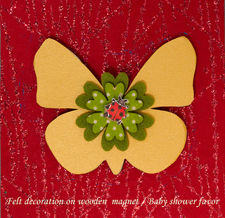 Butterfly shaped wooden magnet with felt decoration baby shower favor