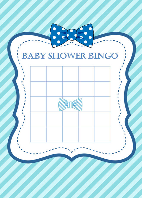 Printable Little Man Baby Shower Bows Blank Bingo Cards