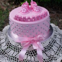 Pink Shoes Little Girl Baby  Shower Cake
