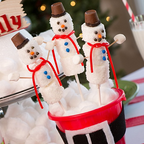 DIY Marshmallow Snowman Lollipo Favor