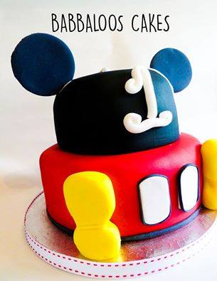 Mickey Mouse Birthday Cake Black Red and Yellow