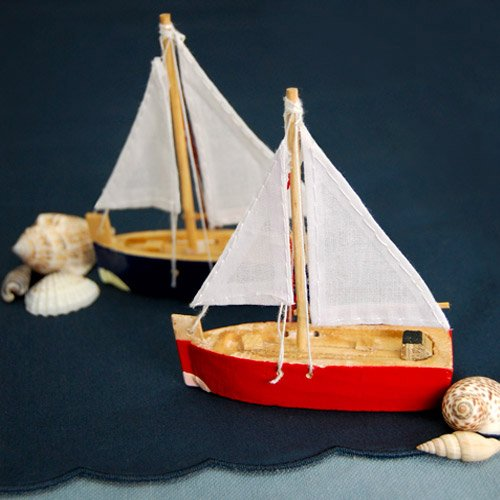Mini Wooden Sailboat Place Card Holders