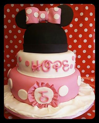 Minnie Mouse Birthday Cake Pink White and Black