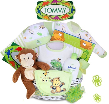 Monkey Baby Shower Gift Basket