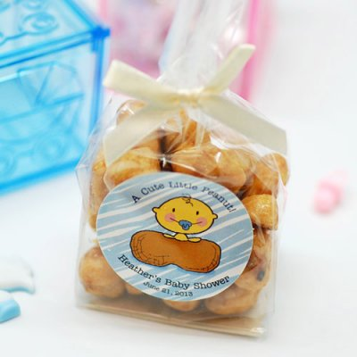 DIY monkey baby shower favor cellophane bag with peanuts
