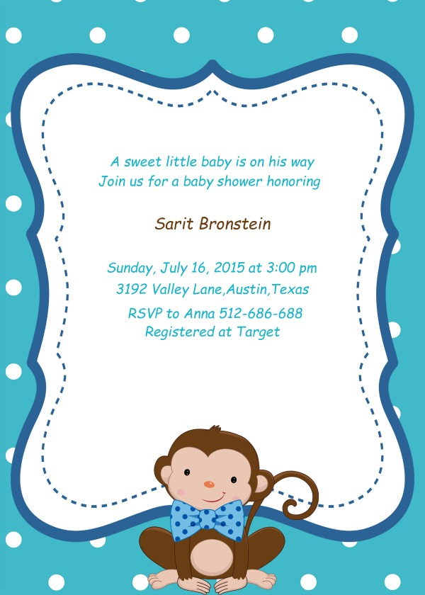 Little man themed baby shower ideas my practical baby shower guide monkey little man custom baby shower invitation filmwisefo Image collections