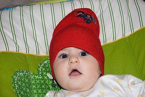 Baby Alon with red hat